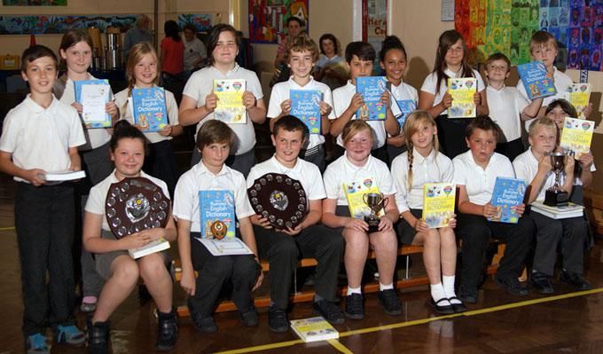 Torquay Rotary in school - Pupils at Ellacombe Academy with their Dictionaries For Life.
