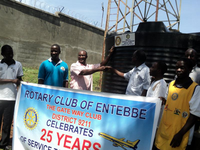 Three Water & Sanitation Projects in Entebbe -Uganda. - PP Alex Kakuru with other Rotarians from the Entebbe Rotary Club.