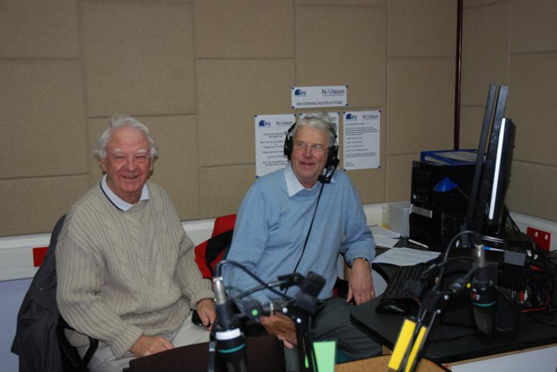 THE TALKING NEWSPAPER TEAM - Eric Hind on left and Ron Greenhough of The Recording team.