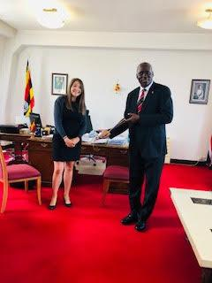 Inaugural visit and address by District Governor Francis Uwaechi  - President Amb Julius Moto is handed the chain of office by Immediate Past President Anna Croghan