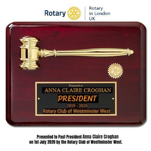 Inaugural visit and address by District Governor Francis Uwaechi  - Immediate Past President Anna is recognised with a Plaque.