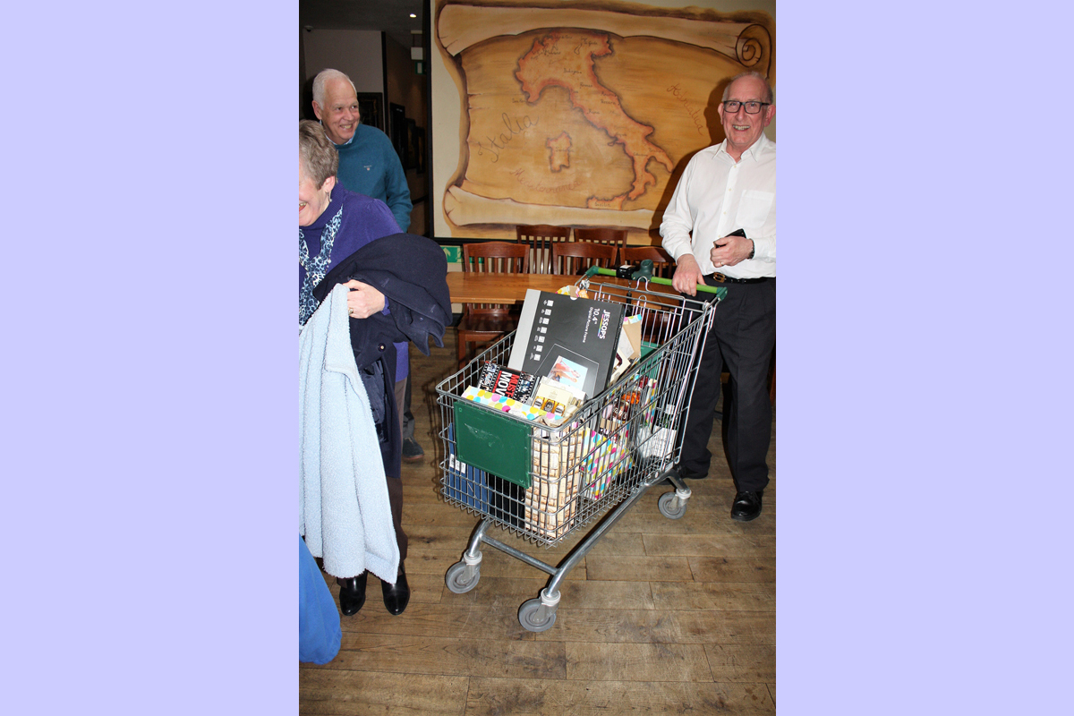 Foundation Lunch 2017 - Rushmoor Rotary won so many raffle prizes they needed a Waitrose trolly