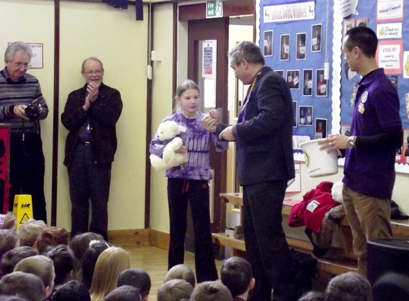 Falkland Primary School - Purple Clothes Day - with Will Job, Simon Tang, Chris Bartlam and Chris Whittaker