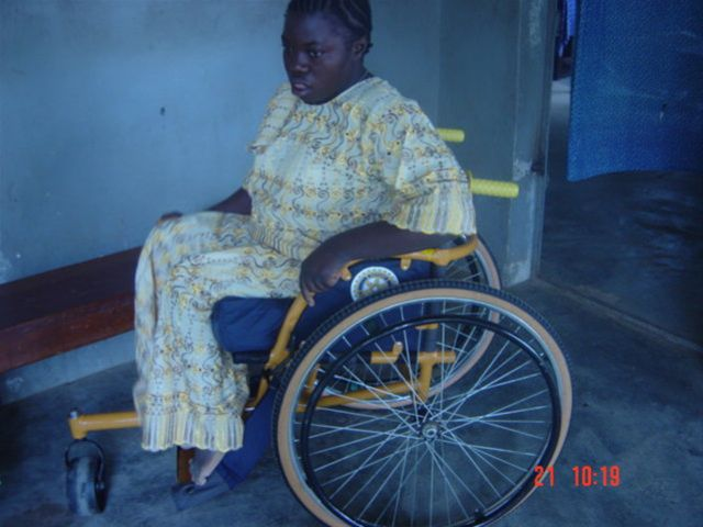 August 2009 wheelchair exhibition in Koidu - Fatmata Bangura