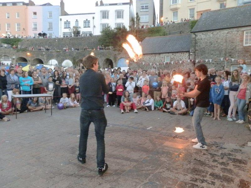 Family Fun Harbour Spectacular 2013 - Fire Spinners Will and Dan show off their skills
