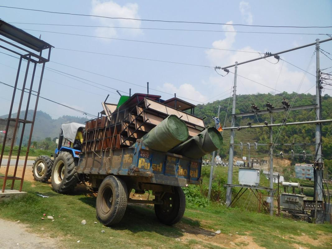 Changing Lives in Nepal - New Desks arriving for the School Classroom -