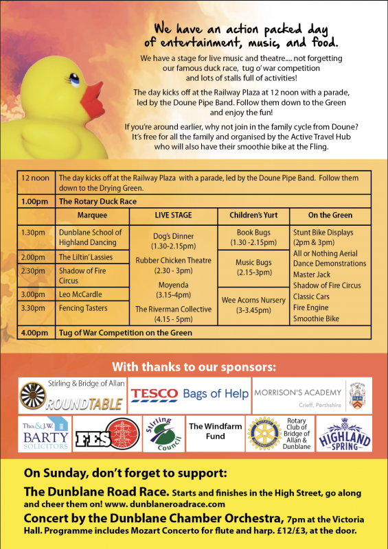 Dunblane Fling and Duck Race Saturday 25 May 11.00- 17.00 -