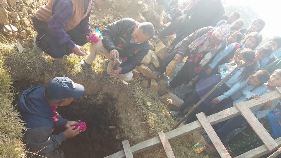 Nepal school project - Foundation stone laying by club president