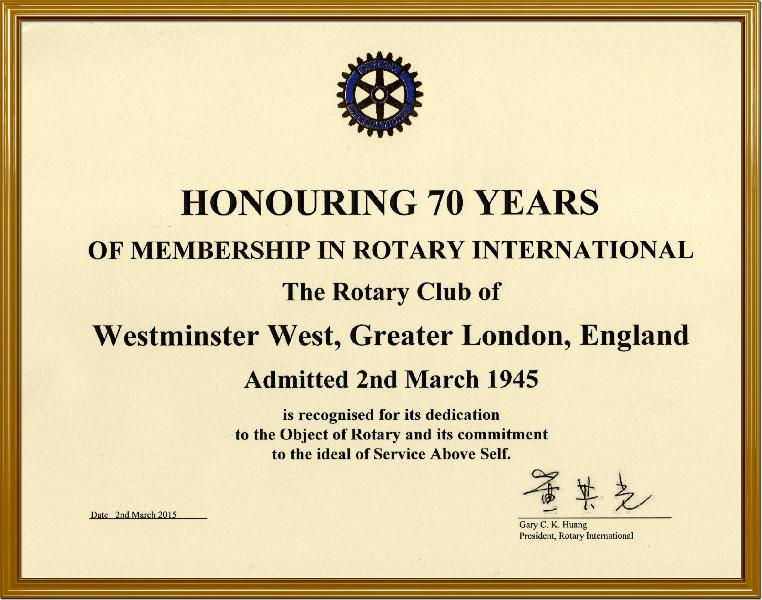 70th ANNIVERSARY OF THE GRANTING OF THE CLUB'S CHARTER - RI President sent the Club a Certificate to commemorate its 70th Anniversary