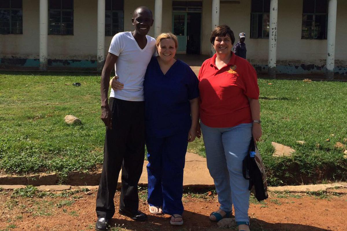 Ngora Freda Carr Hospital - April 2017 - Jacqui and Gillian with a member of the hospital team