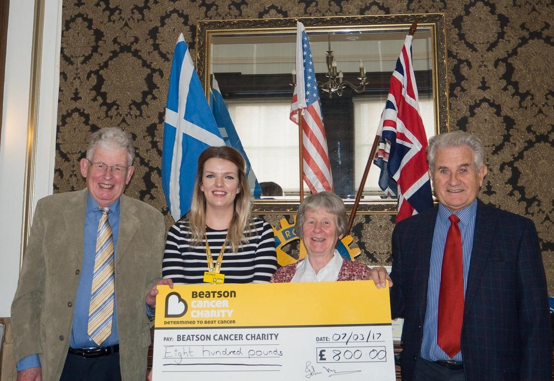 Greenock Rotary Coffee Morning benefits Beatson Cancer Charity  - Jen is seen with Rtns.  Mike Kimpton, Ann Lockhart and Allan Morrison