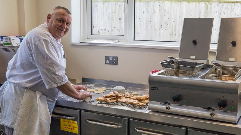 The New Club in action - Feb 2016 - Meanwhile Gary perpares lunch in his new 21st century kitchen.