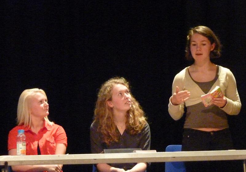 Sep 2013 Peace Talks and Debate with Sixth Form students - Gabriela from the Parkside Team in action