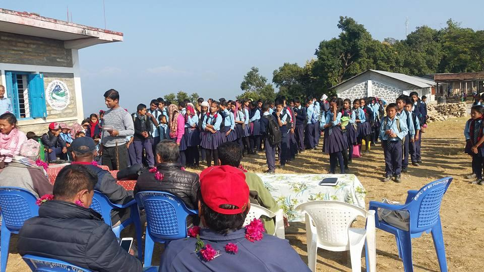 Nepal school project - Gathering at the ceremony