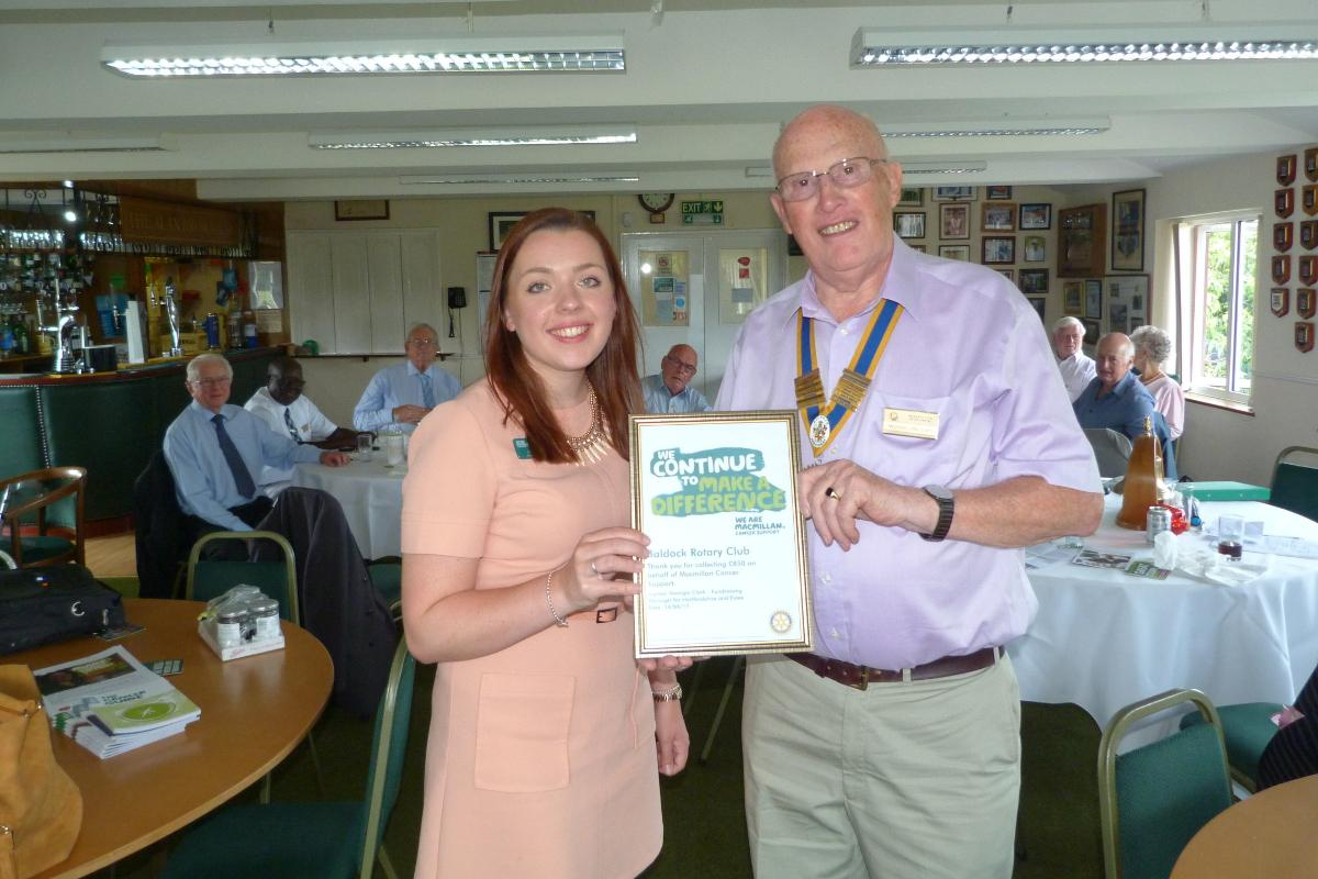 Macmillan says Thank You to Baldock Rotary -