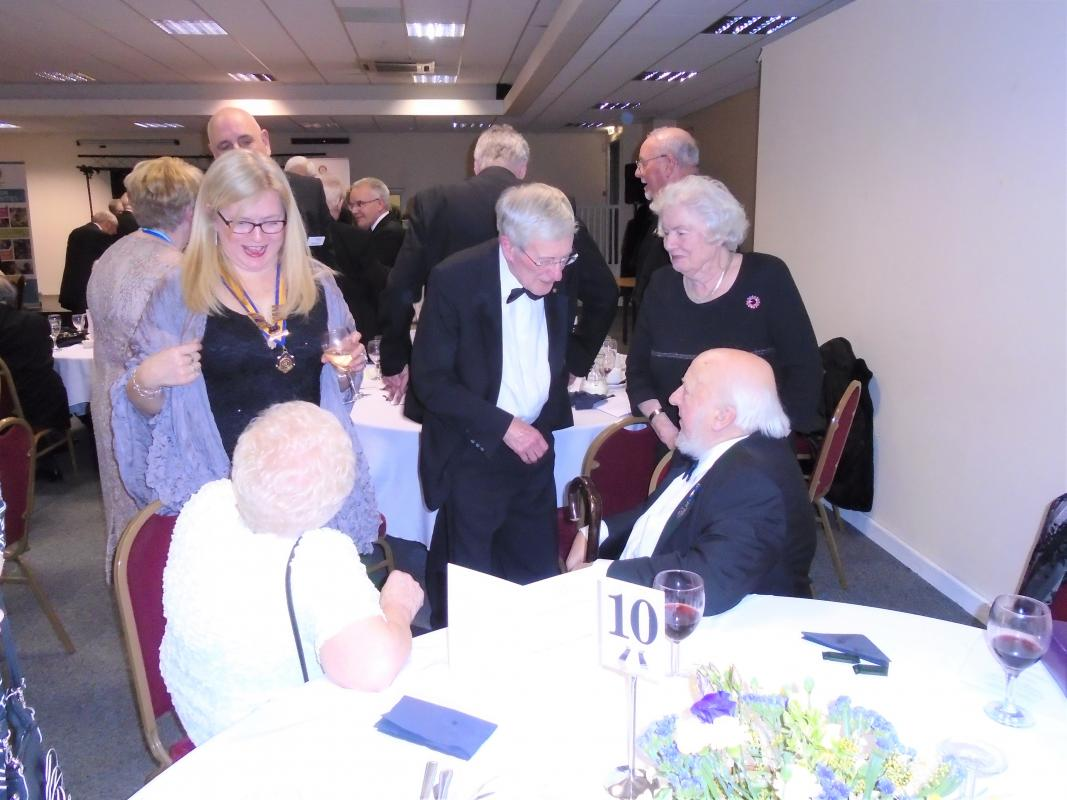 Nantwich Rotary 85th Charter Night - Gerald Emerton and Ron Smith with members of the Inner Wheel
