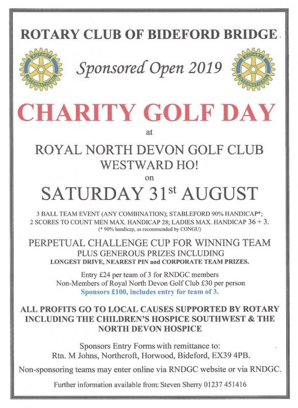 CHARITY GOLF DAY - 31ST AUGUST 2019 -