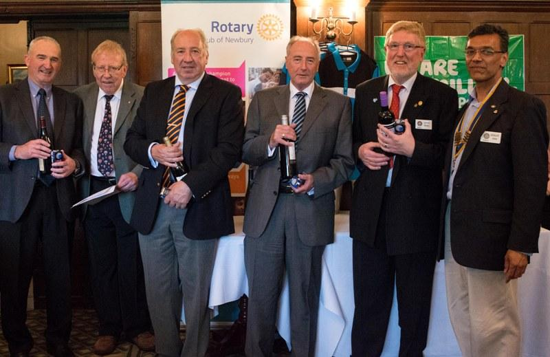2015 Charity Golf Tournament  - collecting their 2nd place prizes from President Hemant and Rtn Trevor