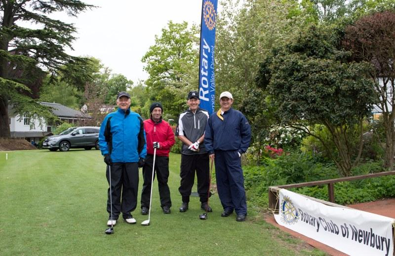 2015 Charity Golf Tournament  - The winning team setting off from the first tee.