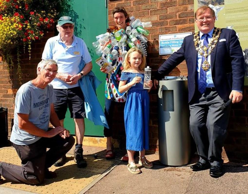 Monmouth Fountains Scheme  - Mayor Richard Roden and Rotarians Roger Finn and Norman Williams