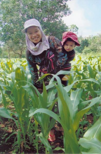 International - H'Blan Bkrong and her youngest daughter out in their maize fields which was supported in 2014 by funding from our club