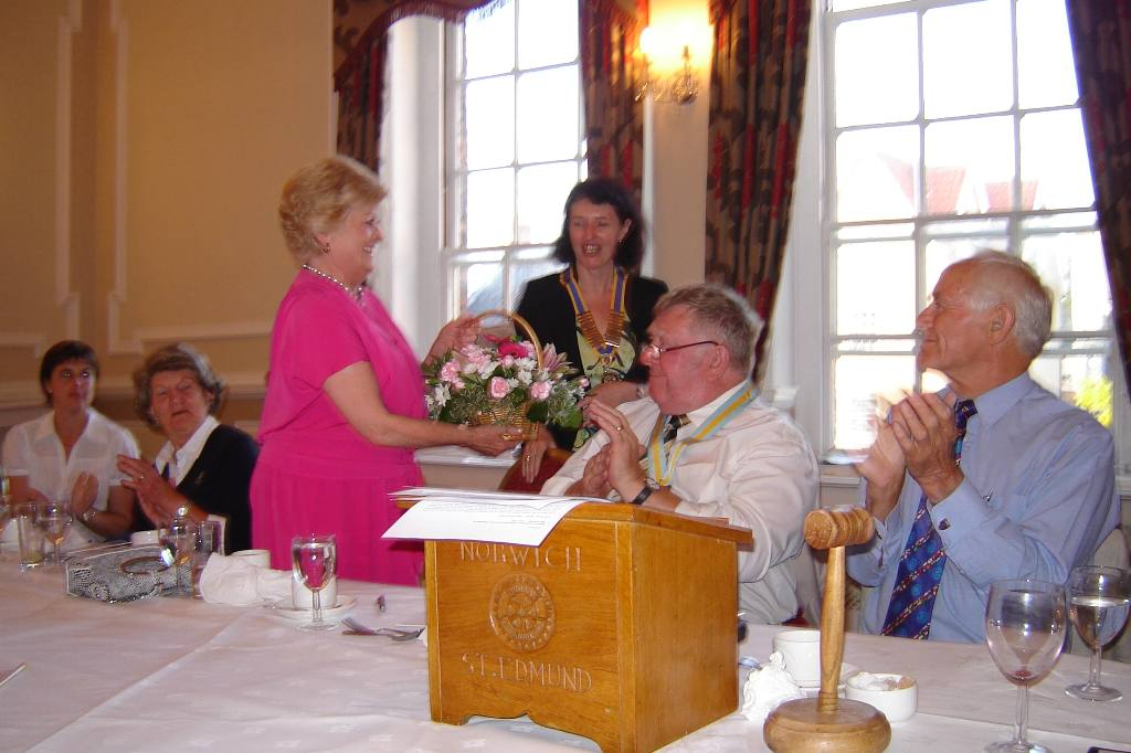President's Handover - 1 July 2008 - Caroline presenting Anne K with flowers