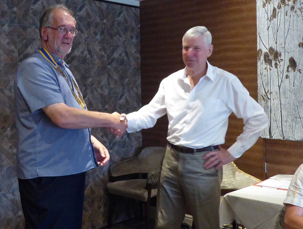 Club handovers - President Brian (R) hands over to President Richard (L)