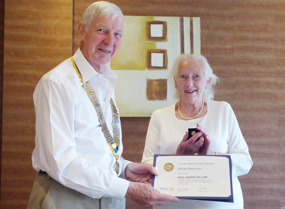 Club handovers - Fiona Sparrow was our special guest, and during the evening she was presented with a PHF for her outstanding contributions to community life in the Ambleside area.