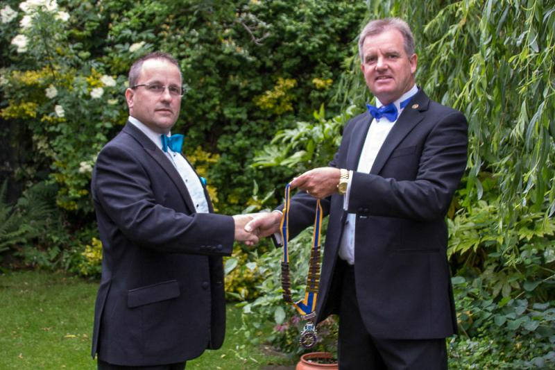 2013 Rotary Pesidential Handover - Gary Hands over the Chain of Office