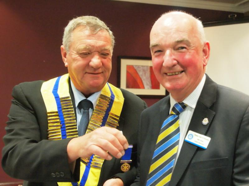 Handover Day - President Les presents Past President Iain with his Past President's Jewel