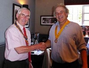 President Handover 2017/2018 - Rotarian David Lawrence welcoming Rotarian Geoff Dawson as President Elect for 2018/2019