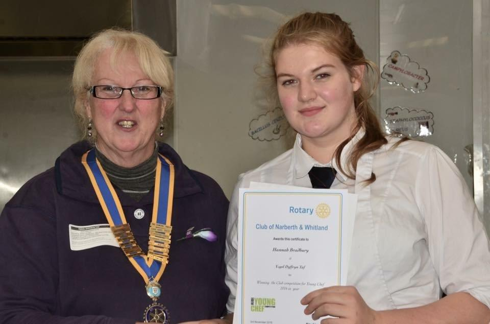 "Local girl ""wows"" the judges - Hannah with President of Narberth & Whitland Rotary Club Mary Adams"