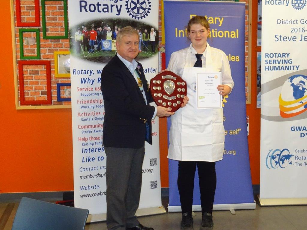 "Local girl ""wows"" the judges - Hannah with South Wales Rotary District Governor Steve Jenkins"