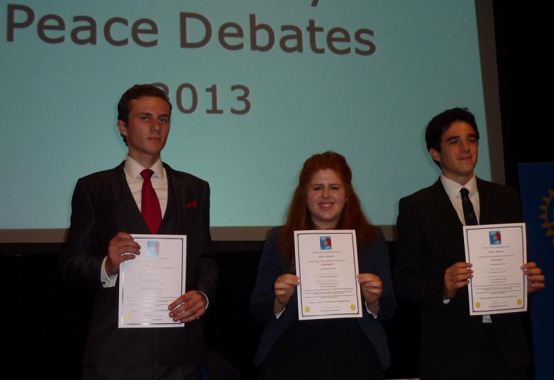Sep 2013 Peace Talks and Debate with Sixth Form students - Hills Road Sixth Form Team came third