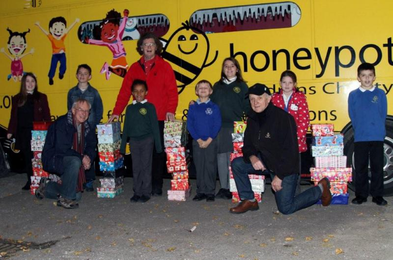 CHRISTMAS SHOEBOXES 2013 - President Edward, Ian Bennett and John Thomson