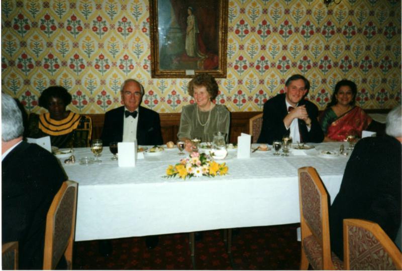 Club History - Lord Young flanked by Mrs Jeannette Crane wife of President Robert