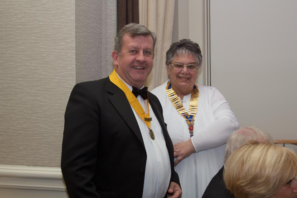 Palatine 36th Charter Night - Gail presenting Mark Rooker with President Nominee ribbon
