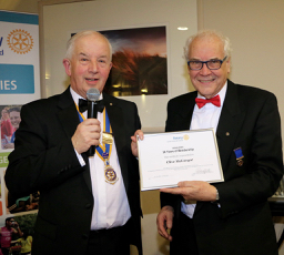 Holyhead Rotary Club 70th Charter Dinner - Presentation of a certificate to past President Clive McGregor to comemmorate 30 years in Rotary