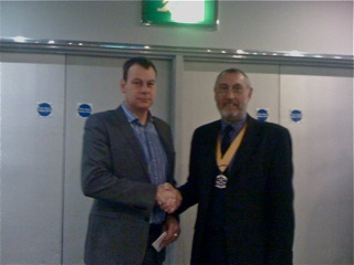 Paul Leone - New member induction - Paul Leone (left) is welcomed as a new member of the Croydon Whitgift Rotary Club by Bill Ainsworth.