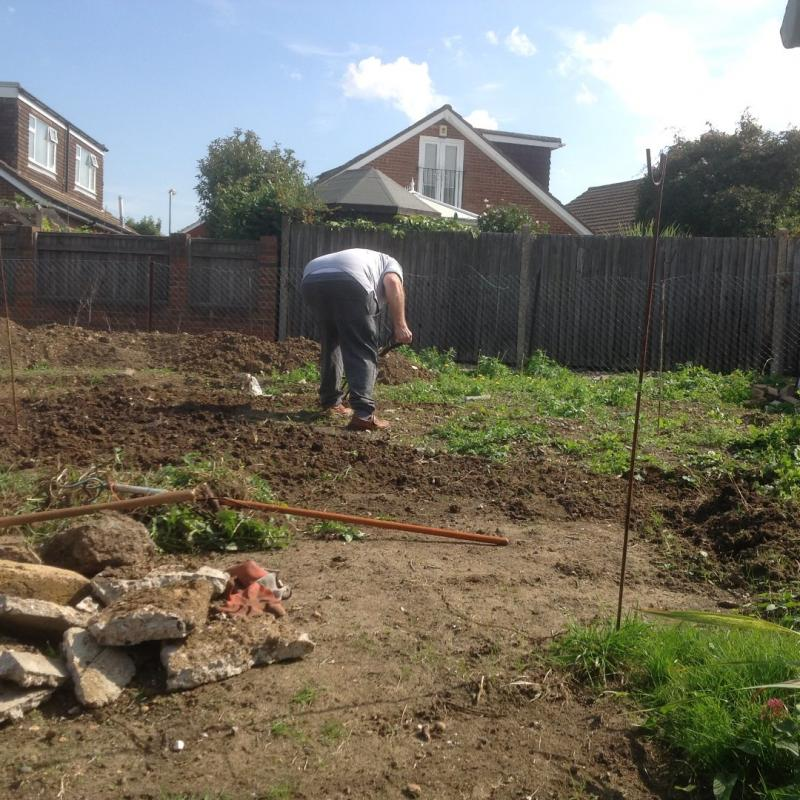 11th Sept 2015 - today is pond day ! - digging over the lawn area
