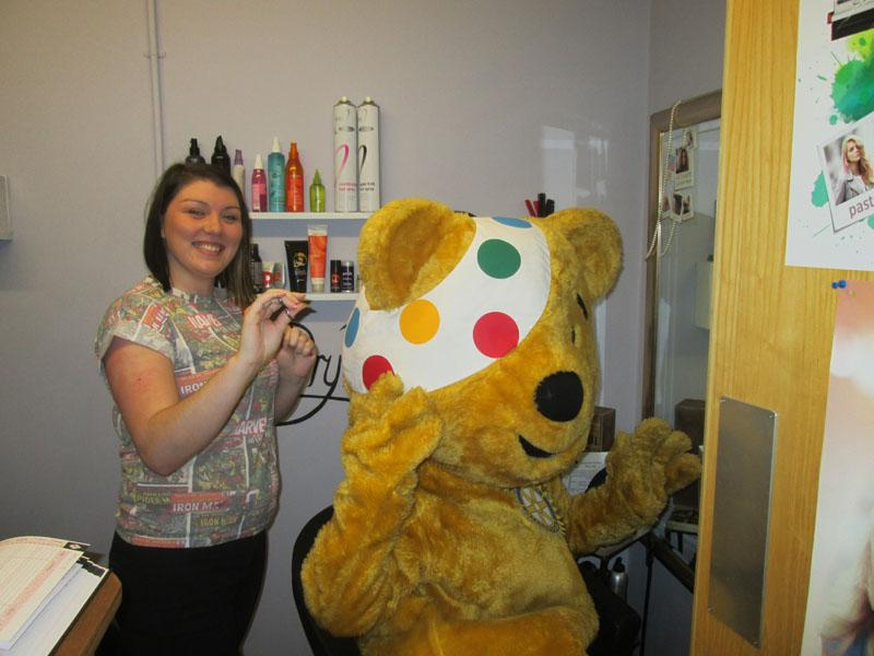 Children in Need 2014 - Pudsey getting a 'fur' cut at McLaren Leisure Centre