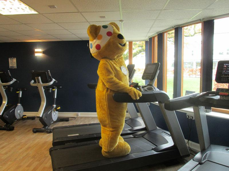 Children in Need 2014 - Pudsey getting some much needed exercise - too many sticky buns!