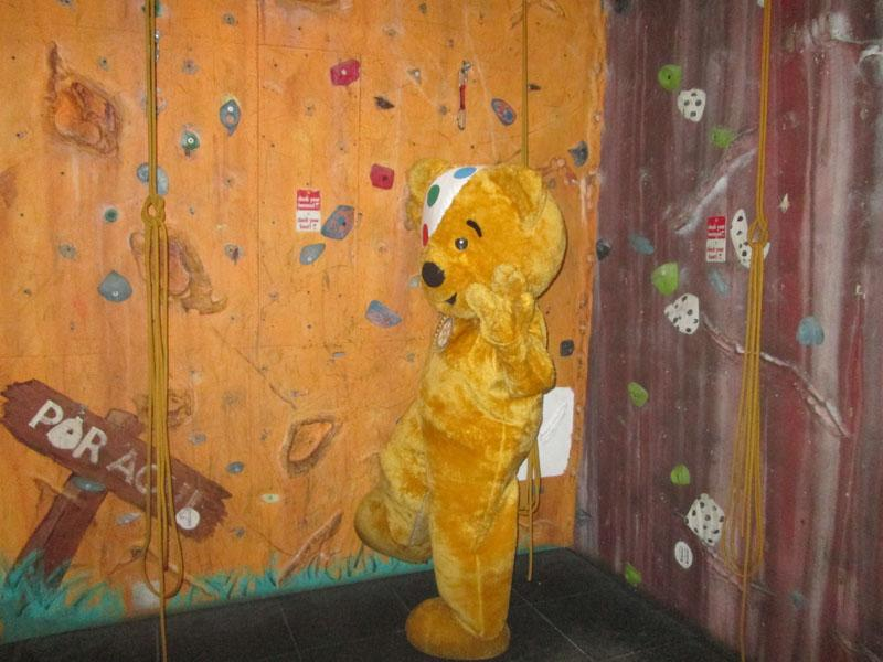 Children in Need 2014 - Never seen a bear on a climbing wall before