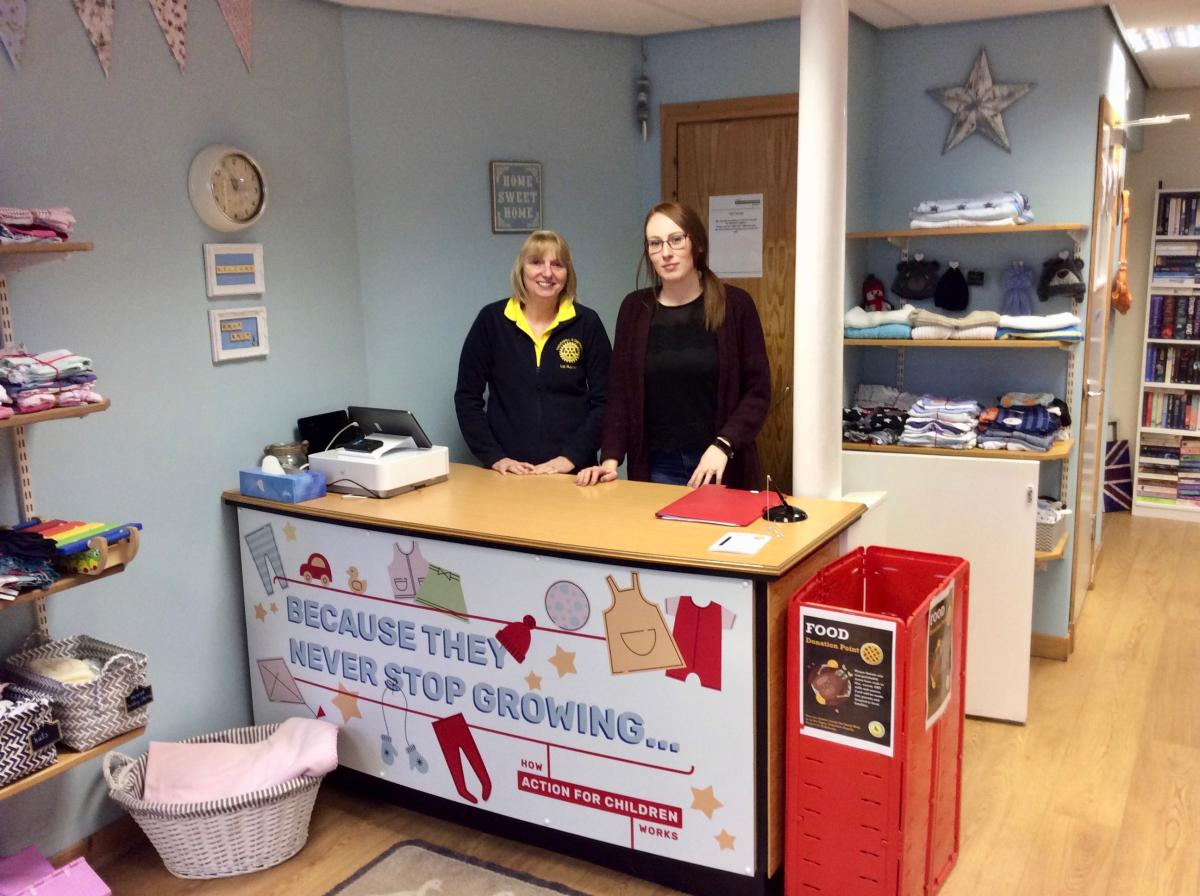 "Rotary Jump Into ""Action for Children"" - Liz Baxter with Jennifer Wells in the Swap 'n' Shop."