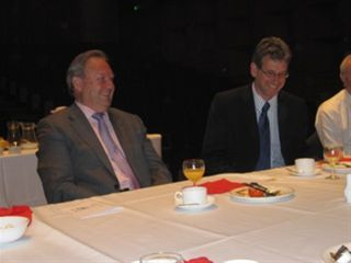 Breakfast on the Stage - Trevor shares a joke with the new Fairfield Chief Executive Simon Thomsett