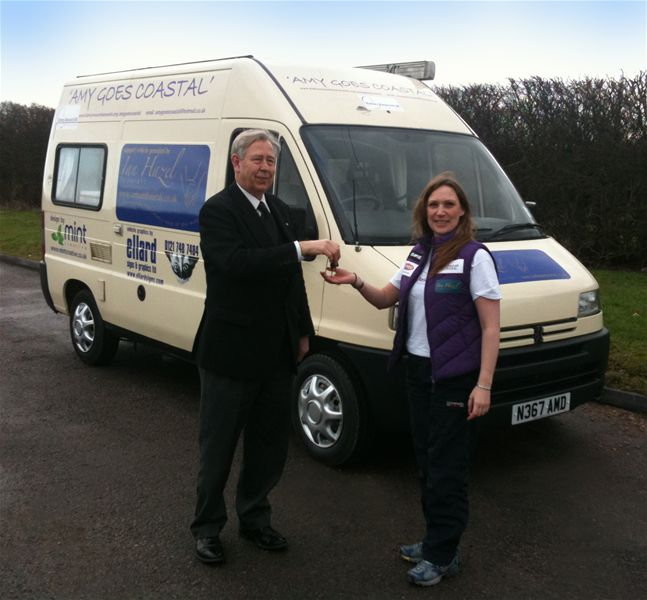 Amy Goes Coastal - Ian Hazel hands over the keys to the camper van to Am.