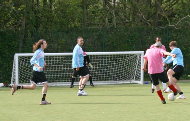 May 2012 Tommy McLafferty Football Tournament for Homeless communities - The build up to a shot at goal by Winter Comfort