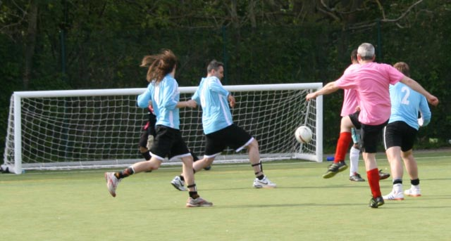 May 2012 Tommy McLafferty Football Tournament for Homeless communities - Ball on its way the the corner of the net