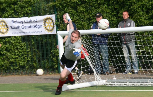 May 2012 Tommy McLafferty Football Tournament for Homeless communities - A good shot from Flack and a spectacular attempt by the Winter Comfort keeper, was it successful