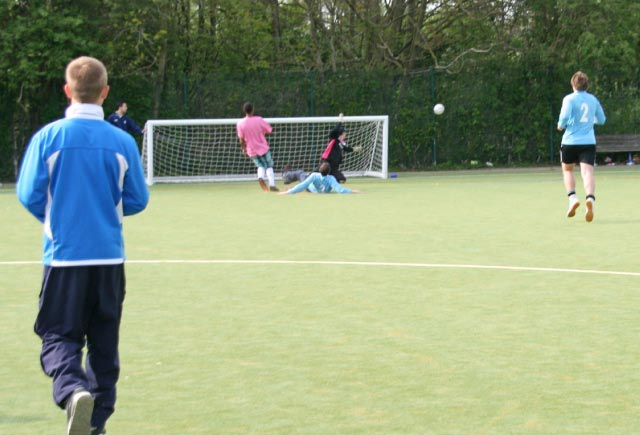 May 2012 Tommy McLafferty Football Tournament for Homeless communities - Successful save by the Flack keeper